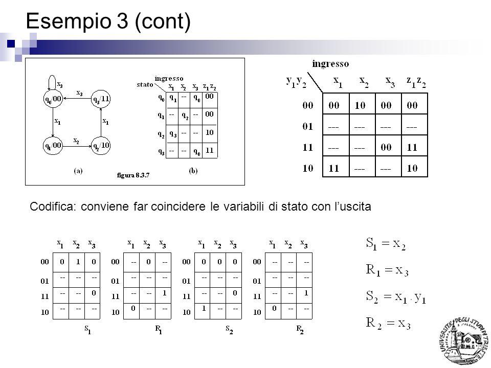 Esempio 3 (cont) Codifica: conviene far coincidere le variabili di stato con l'uscita