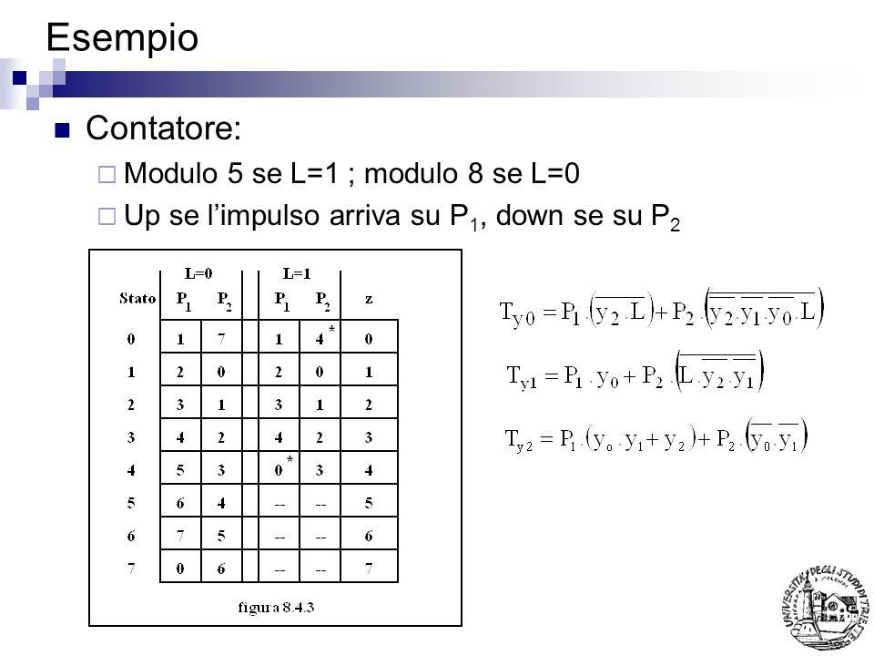 Esempio Contatore: Modulo 5 se L=1 ; modulo 8 se L=0
