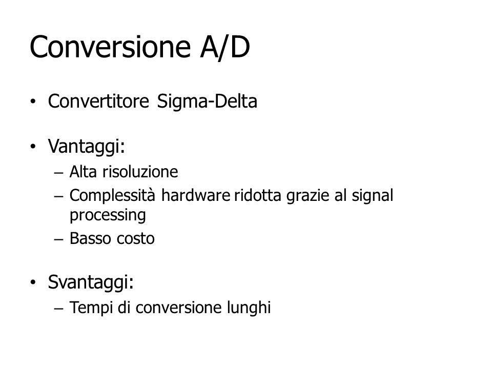 Conversione A/D Convertitore Sigma-Delta Vantaggi: Svantaggi: