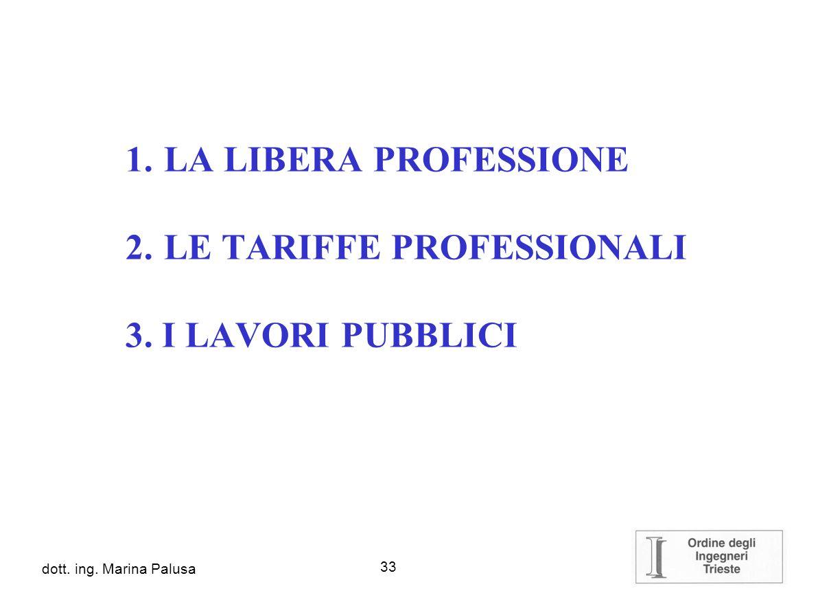 LE TARIFFE PROFESSIONALI 3. I LAVORI PUBBLICI