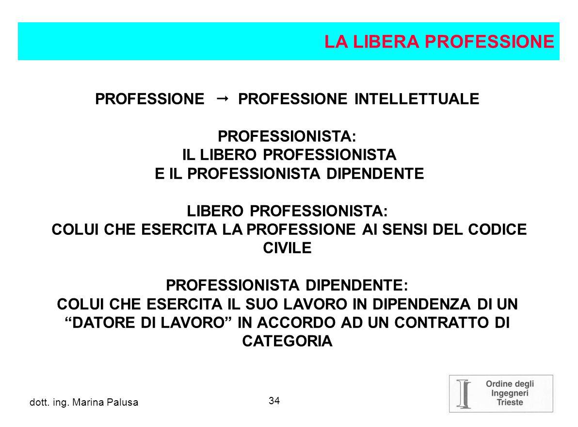 LA LIBERA PROFESSIONE PROFESSIONE  PROFESSIONE INTELLETTUALE
