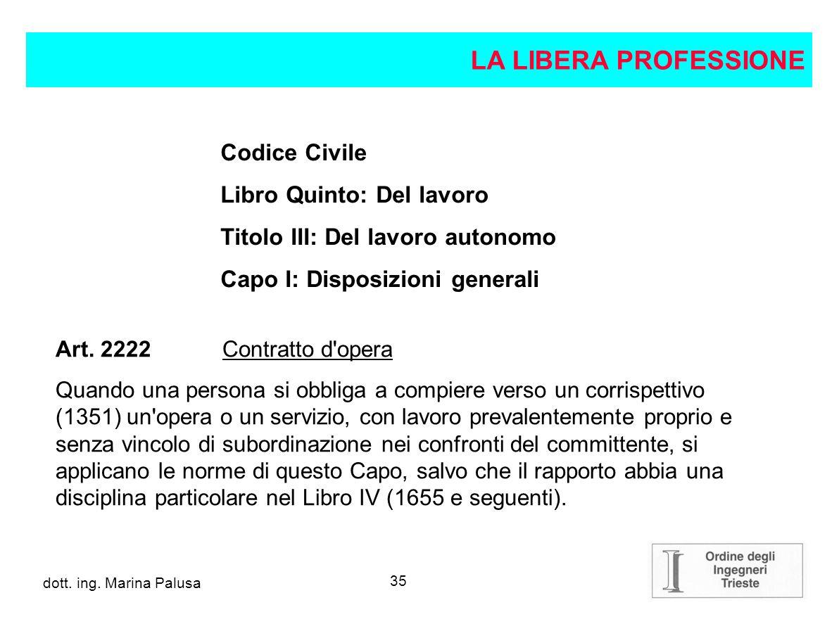 LA LIBERA PROFESSIONE Codice Civile Libro Quinto: Del lavoro