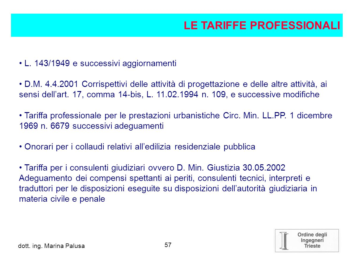 LE TARIFFE PROFESSIONALI