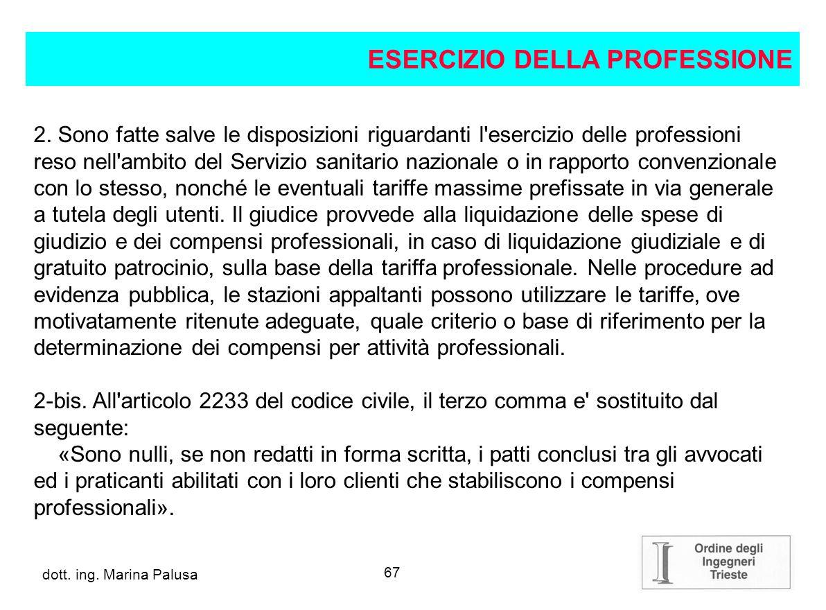 ESERCIZIO DELLA PROFESSIONE
