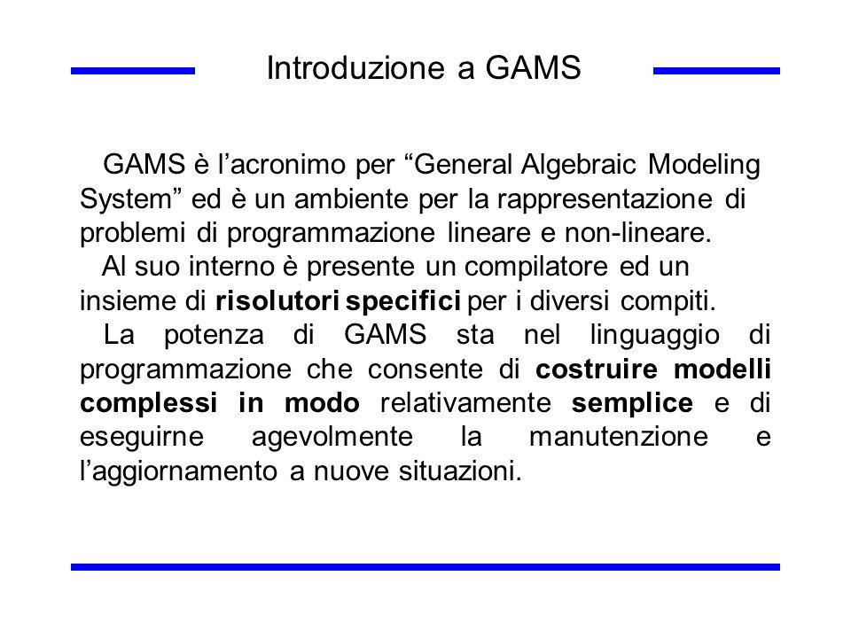 Introduzione a GAMS