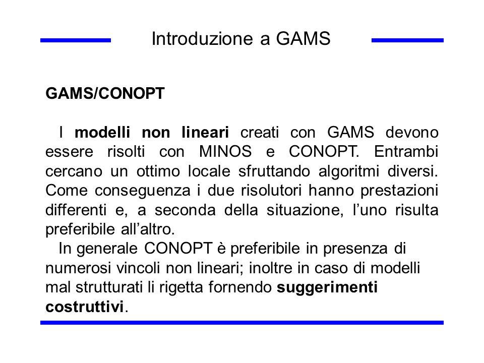 Introduzione a GAMS GAMS/CONOPT