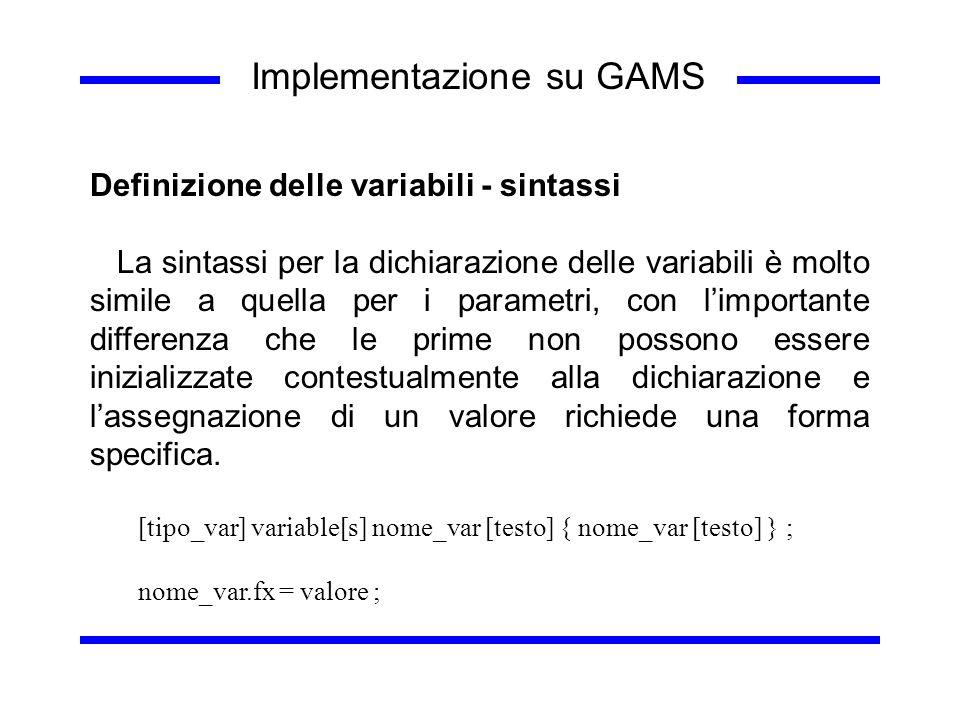 Implementazione su GAMS