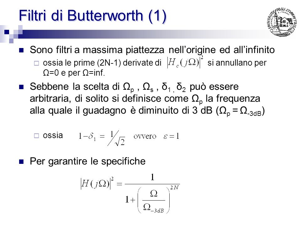 Filtri di Butterworth (1)