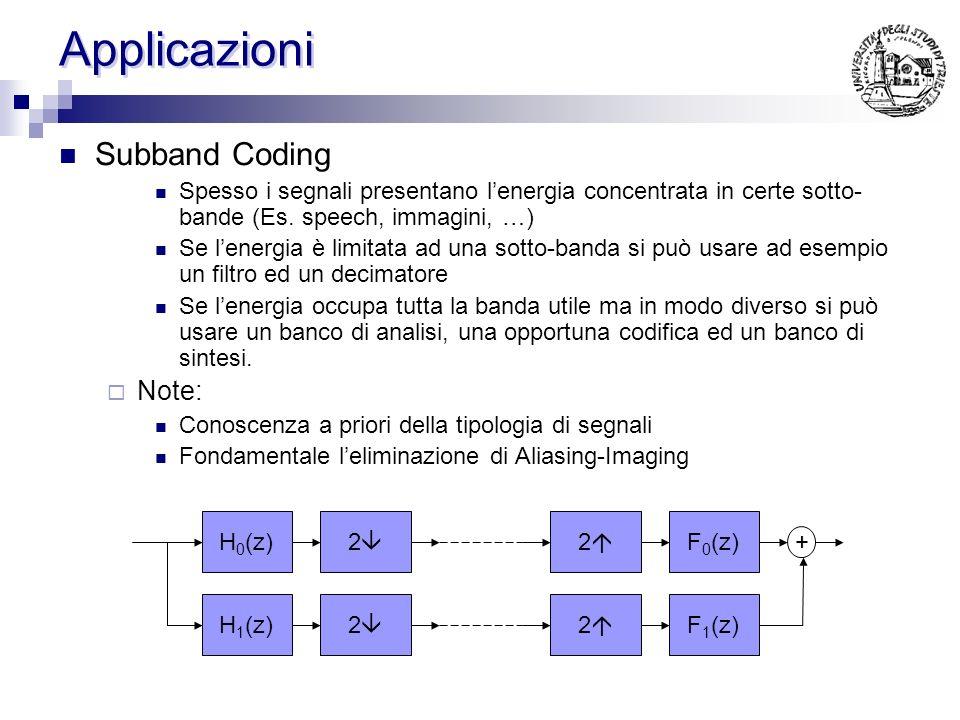 Applicazioni Subband Coding Note: