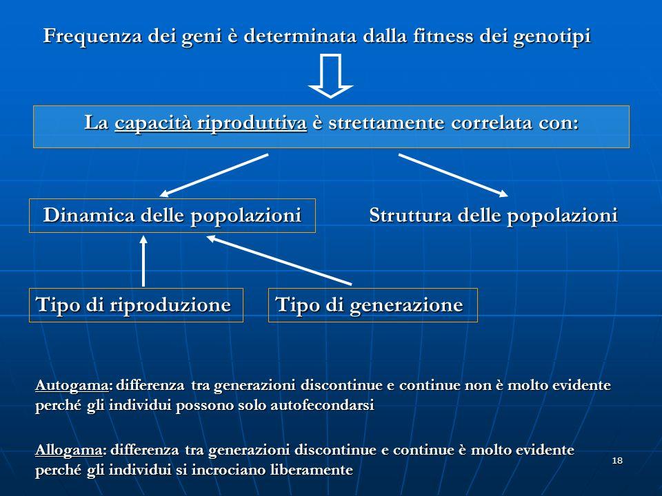Frequenza dei geni è determinata dalla fitness dei genotipi