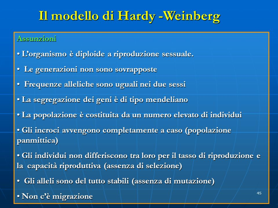 Il modello di Hardy -Weinberg