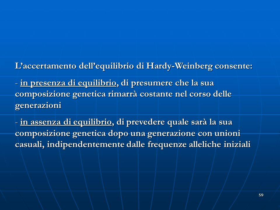 L'accertamento dell'equilibrio di Hardy-Weinberg consente: