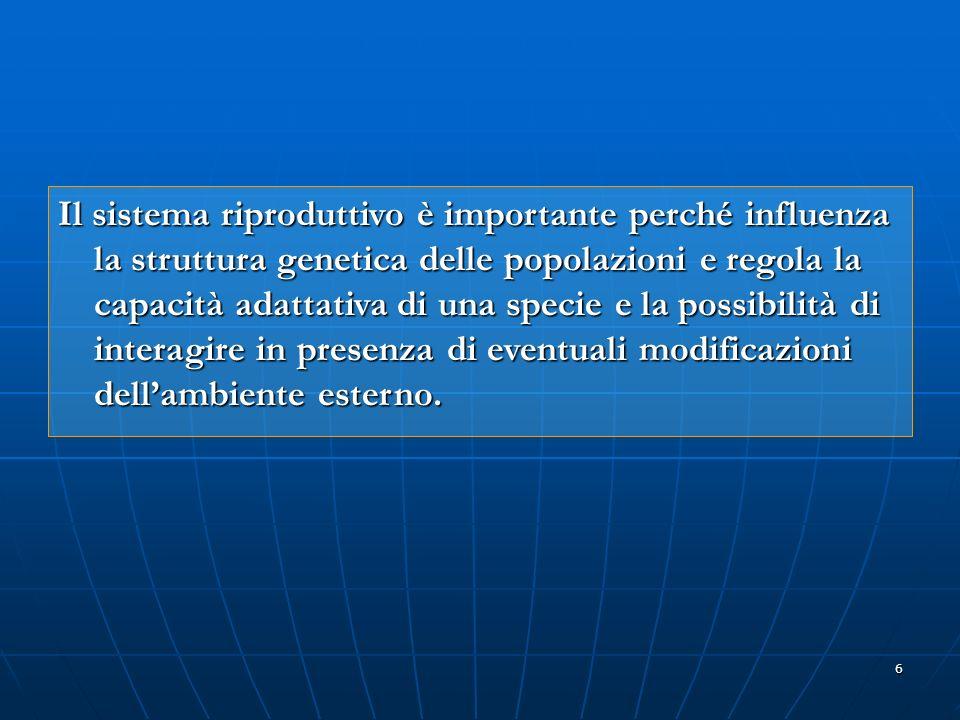 Il sistema riproduttivo è importante perché influenza la struttura genetica delle popolazioni e regola la capacità adattativa di una specie e la possibilità di interagire in presenza di eventuali modificazioni dell'ambiente esterno.