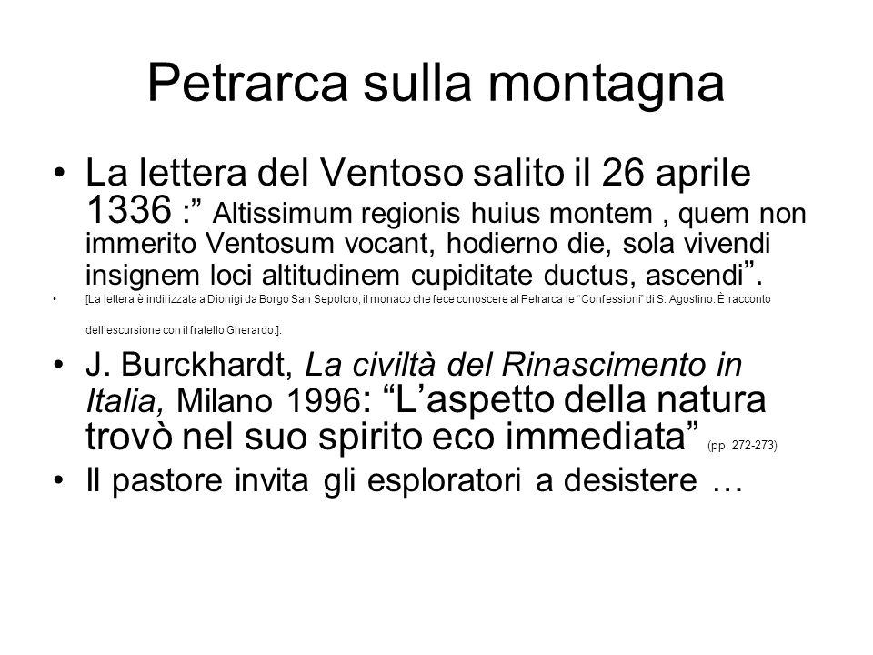 Petrarca sulla montagna