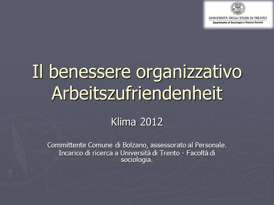 Il benessere organizzativo Arbeitszufriendenheit