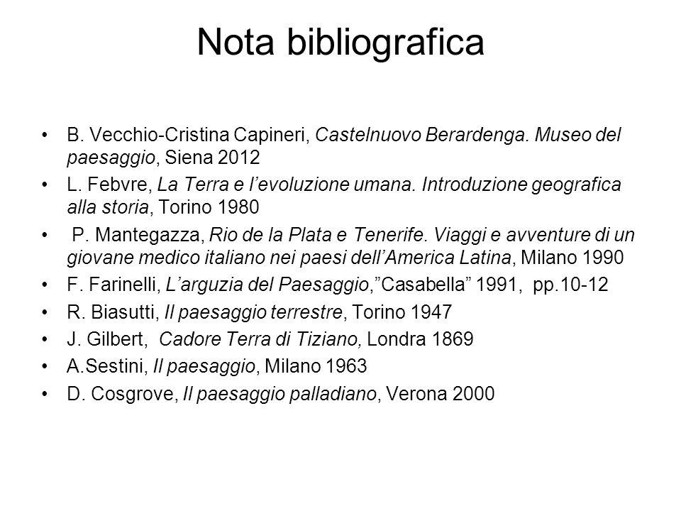Nota bibliograficaB. Vecchio-Cristina Capineri, Castelnuovo Berardenga. Museo del paesaggio, Siena 2012.