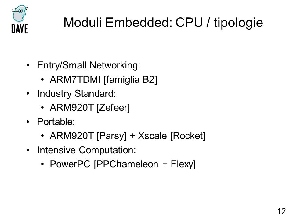Moduli Embedded: CPU / tipologie
