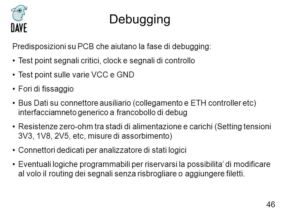 Debugging Predisposizioni su PCB che aiutano la fase di debugging:
