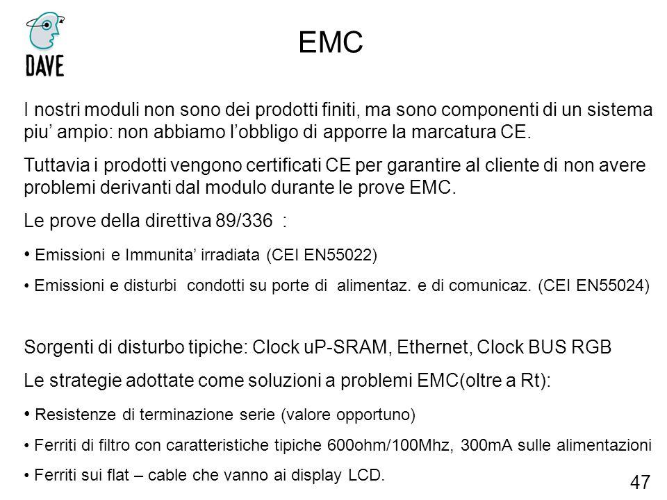 EMC I nostri moduli non sono dei prodotti finiti, ma sono componenti di un sistema piu' ampio: non abbiamo l'obbligo di apporre la marcatura CE.