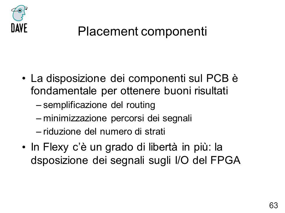 Placement componenti La disposizione dei componenti sul PCB è fondamentale per ottenere buoni risultati.