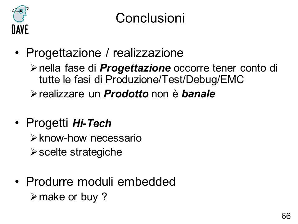 Conclusioni Progettazione / realizzazione Progetti Hi-Tech