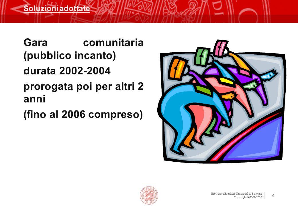 Gara comunitaria (pubblico incanto) durata 2002-2004