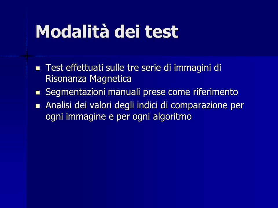 Modalità dei test Test effettuati sulle tre serie di immagini di Risonanza Magnetica. Segmentazioni manuali prese come riferimento.