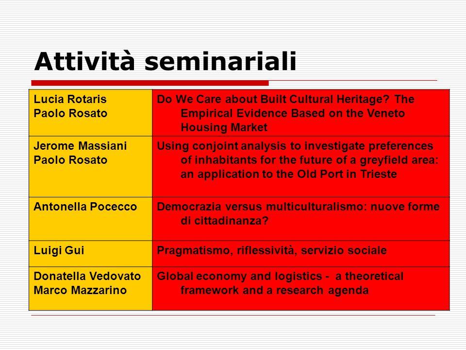 Attività seminariali Lucia Rotaris Paolo Rosato