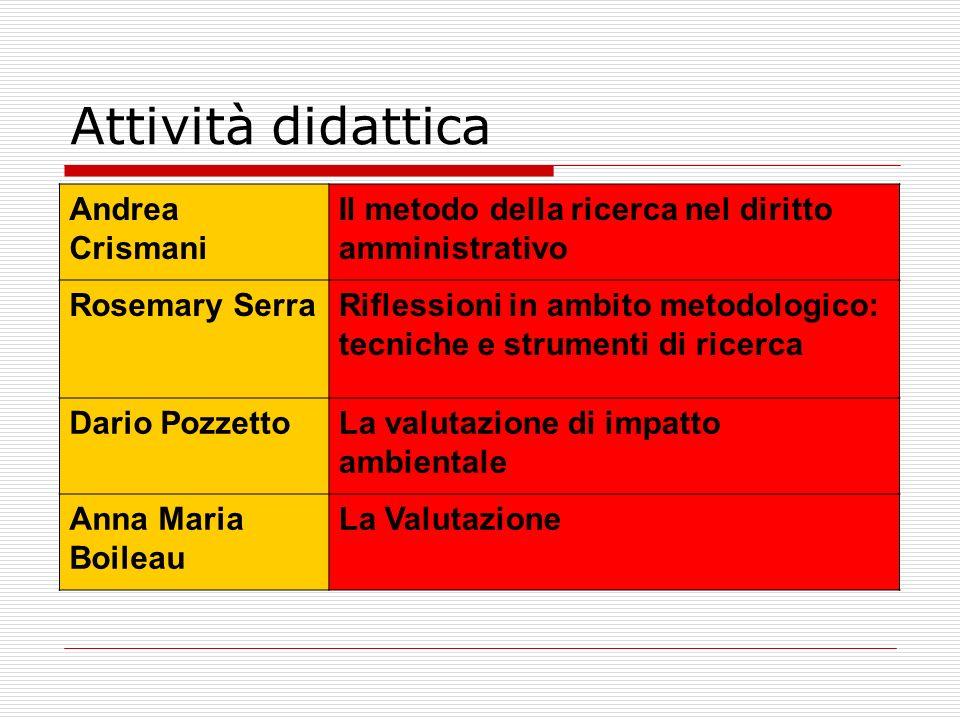 Attività didattica Andrea Crismani