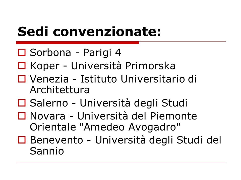 Sedi convenzionate: Sorbona - Parigi 4 Koper - Università Primorska