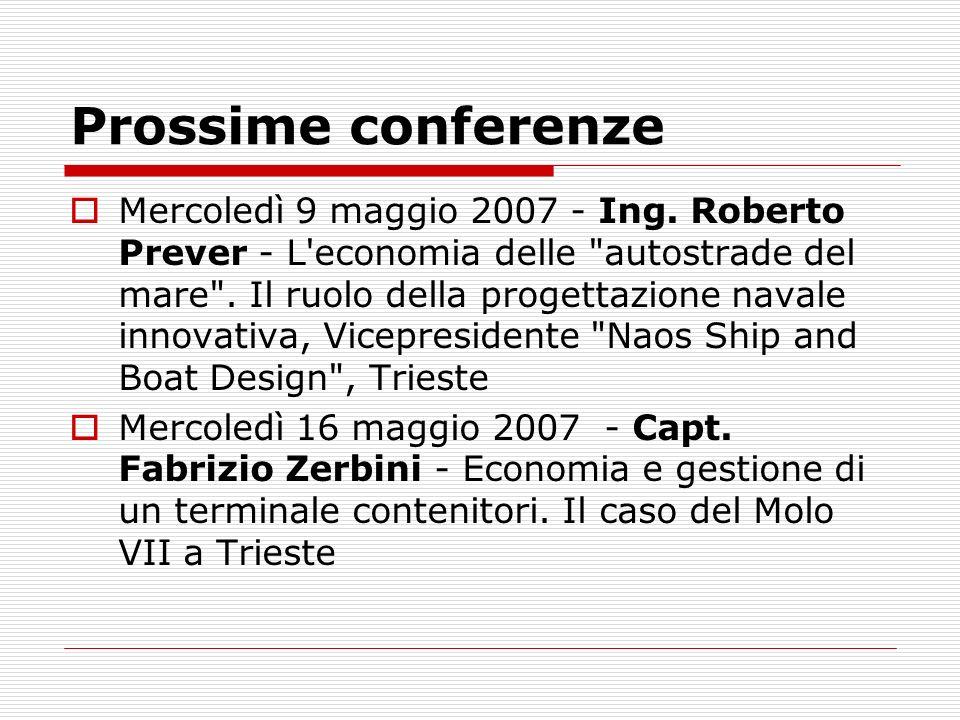 Prossime conferenze
