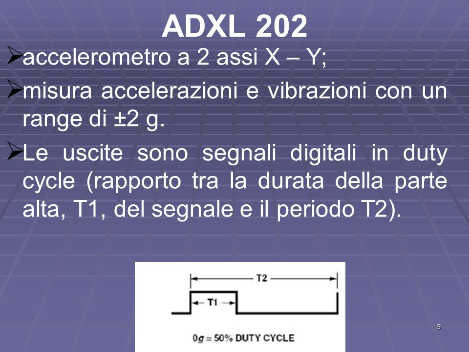 ADXL 202 accelerometro a 2 assi X – Y;