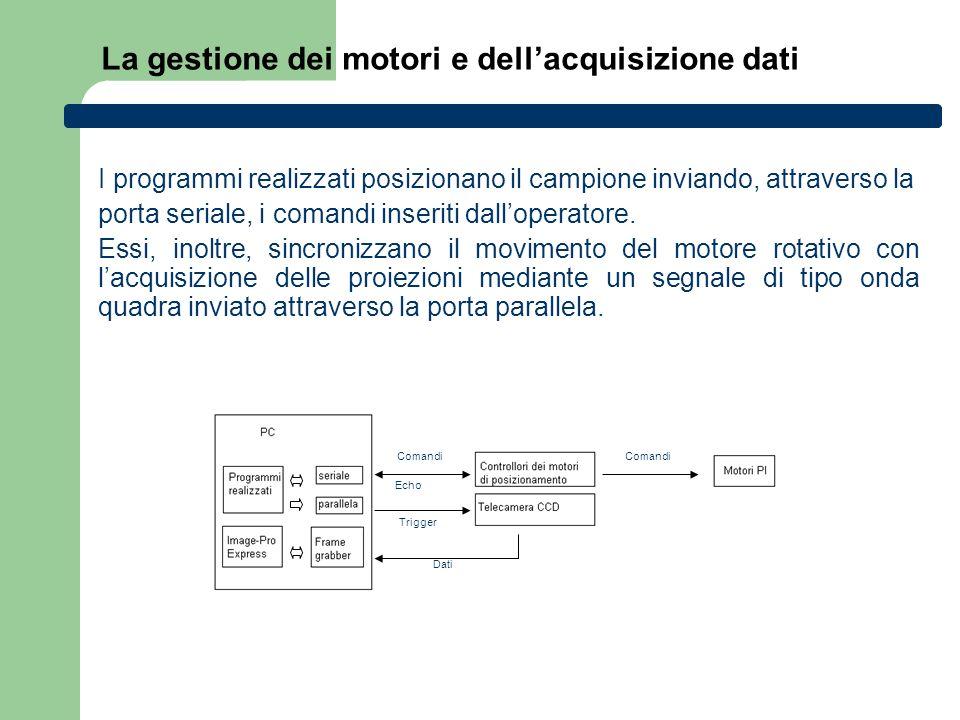 La gestione dei motori e dell'acquisizione dati