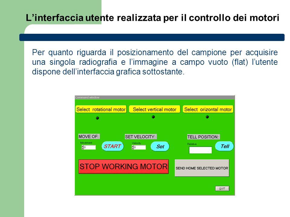 L'interfaccia utente realizzata per il controllo dei motori