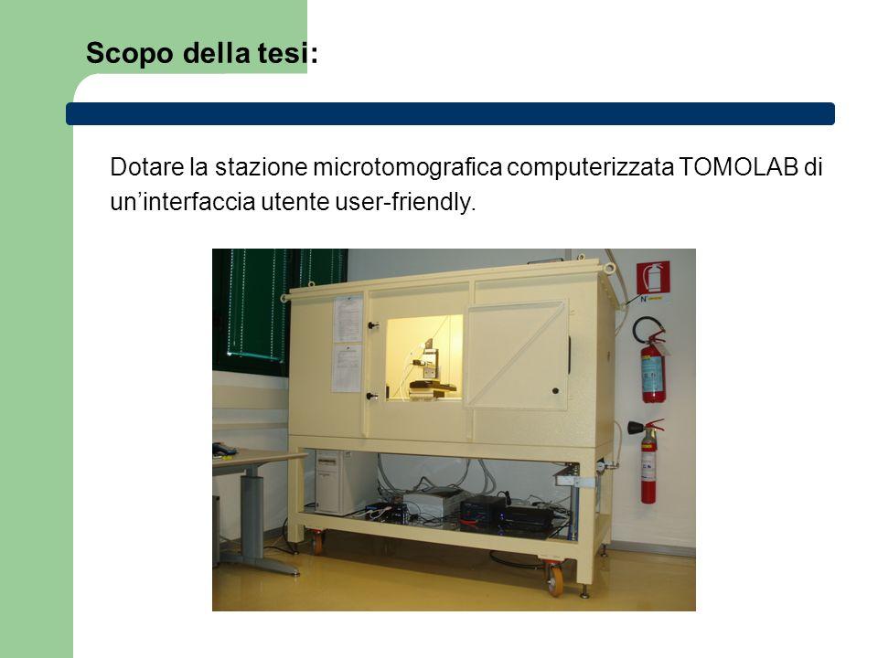 Scopo della tesi: Dotare la stazione microtomografica computerizzata TOMOLAB di.