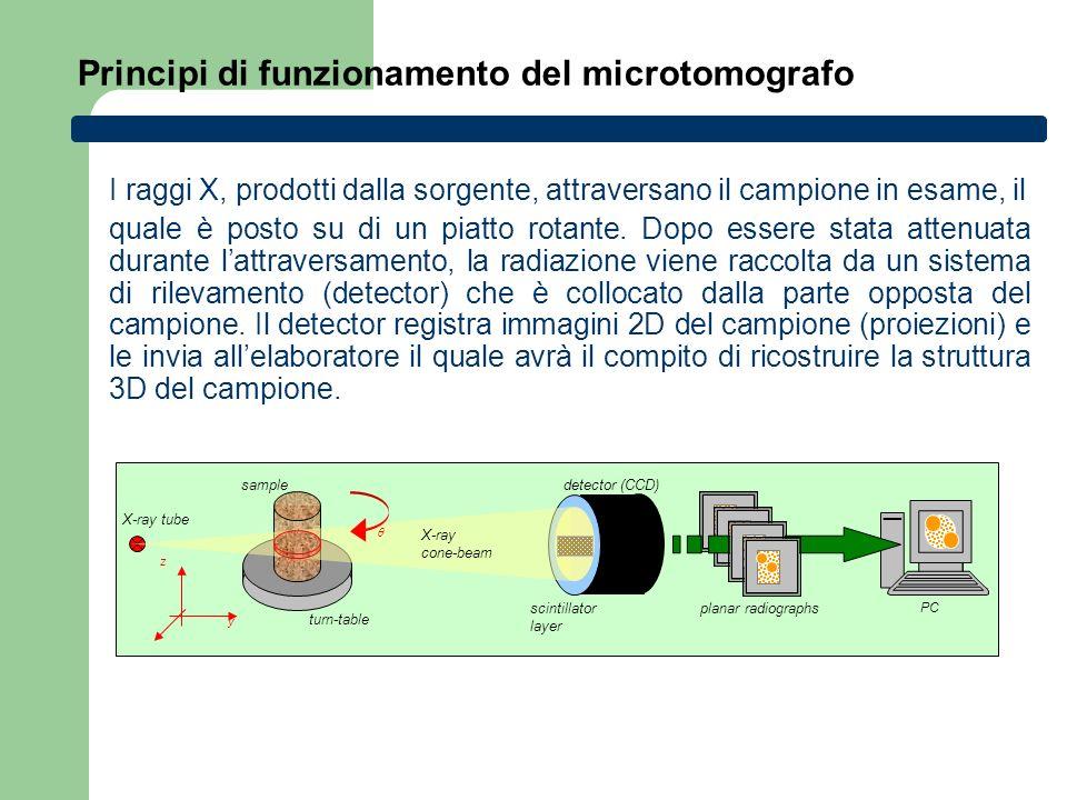 Principi di funzionamento del microtomografo