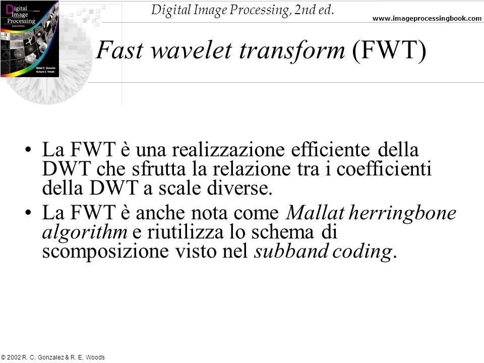 Fast wavelet transform (FWT)