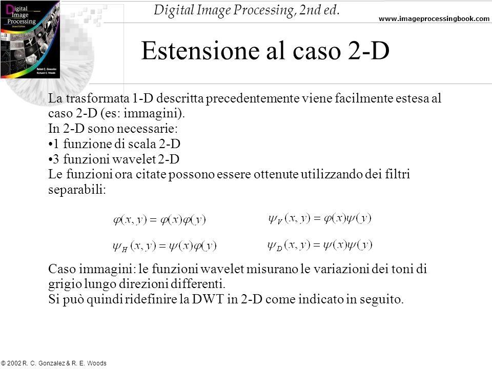 Estensione al caso 2-D La trasformata 1-D descritta precedentemente viene facilmente estesa al caso 2-D (es: immagini).