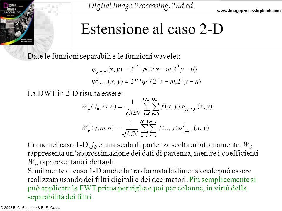 Estensione al caso 2-D Date le funzioni separabili e le funzioni wavelet: La DWT in 2-D risulta essere: