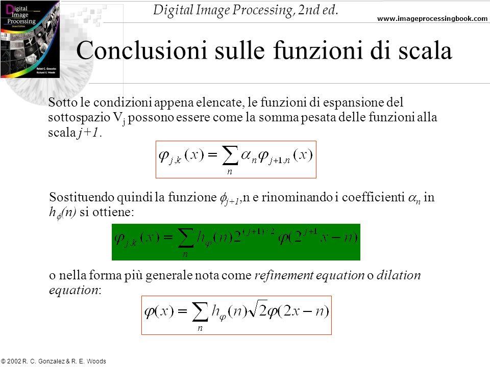Conclusioni sulle funzioni di scala