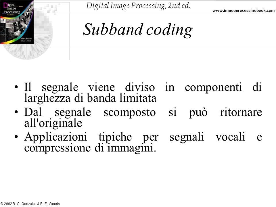 Subband coding Il segnale viene diviso in componenti di larghezza di banda limitata. Dal segnale scomposto si può ritornare all originale.