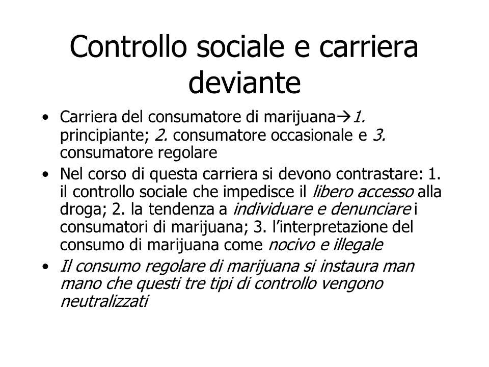 Controllo sociale e carriera deviante