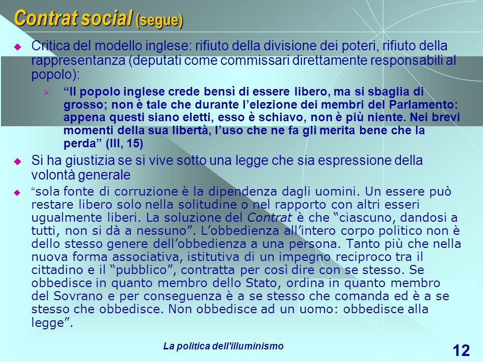 Contrat social (segue)