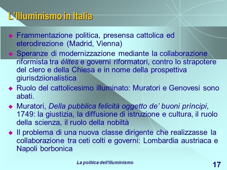 L'Illuminismo in Italia