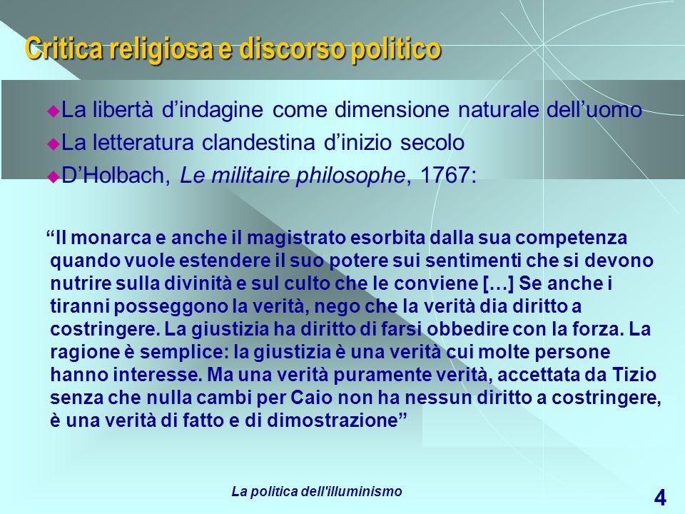Critica religiosa e discorso politico