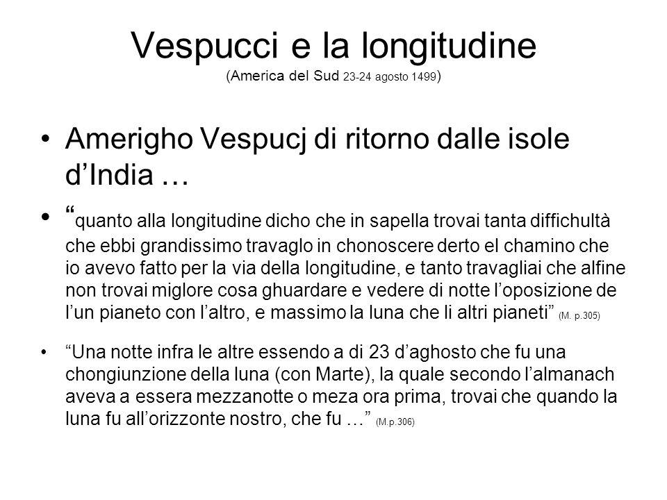 Vespucci e la longitudine (America del Sud 23-24 agosto 1499)