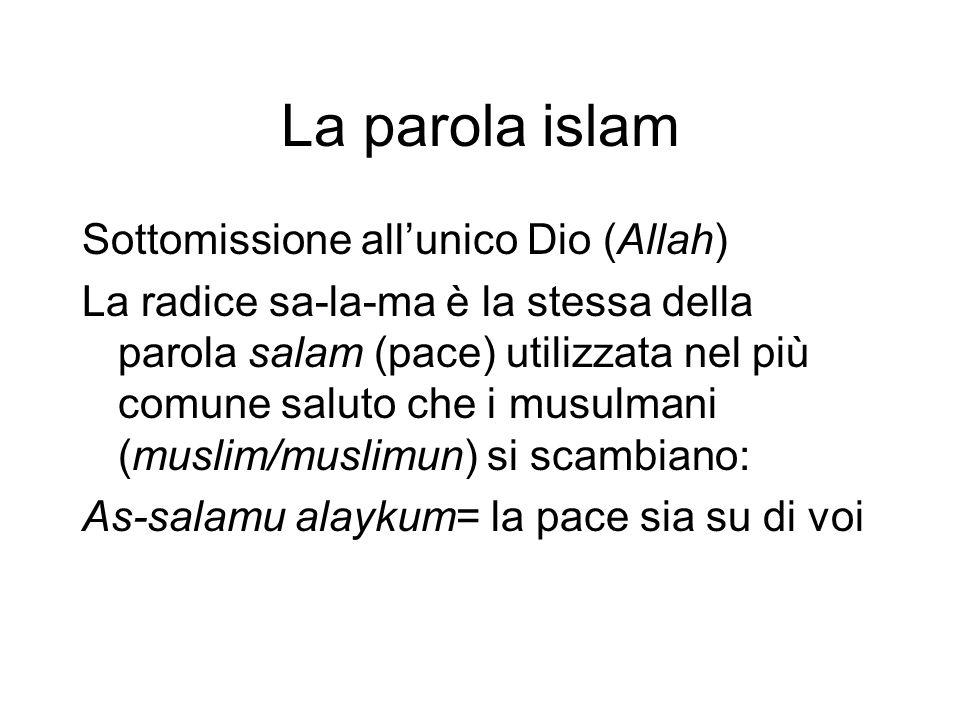 La parola islam Sottomissione all'unico Dio (Allah)