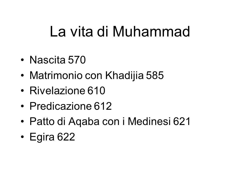 La vita di Muhammad Nascita 570 Matrimonio con Khadijia 585
