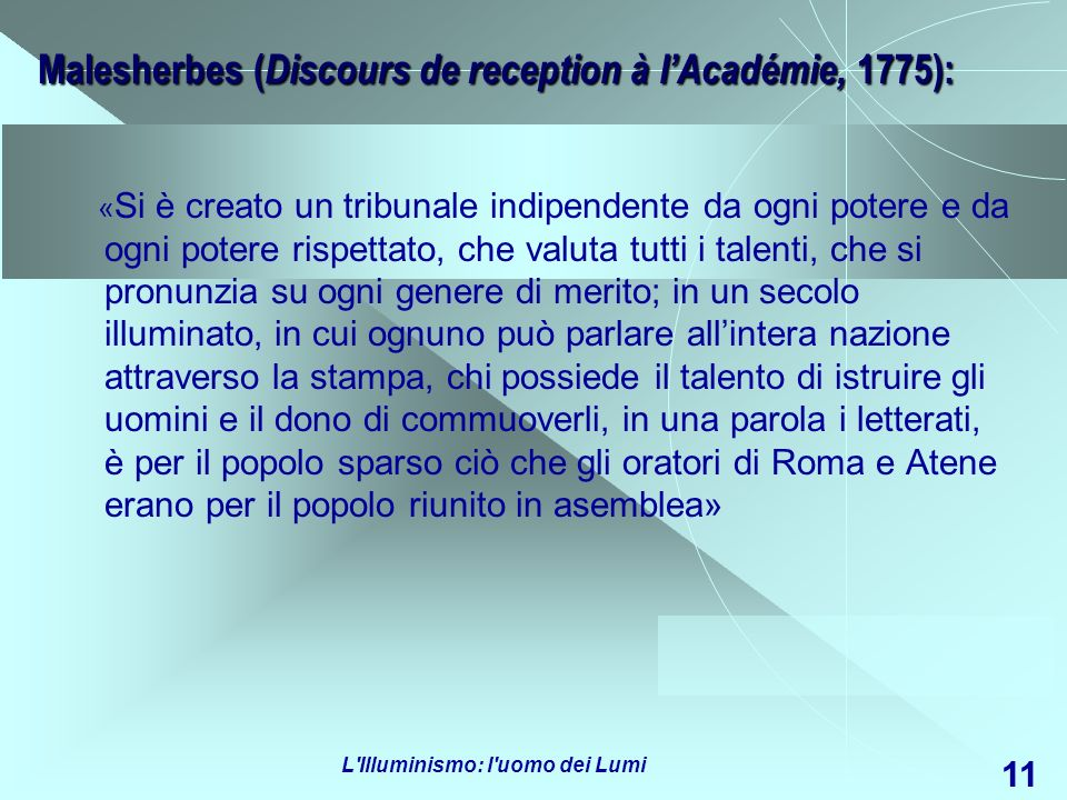 Malesherbes (Discours de reception à l'Académie, 1775):