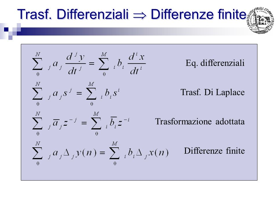 Trasf. Differenziali  Differenze finite
